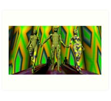 Two  Yellow Fractal Outfits To The Left Art Print