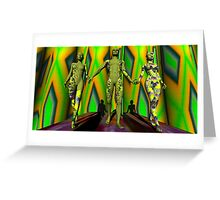 Two  Yellow Fractal Outfits To The Left Greeting Card