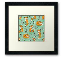 Dreamy Fox in Green Framed Print