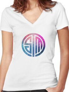 TSM Geometria Eminence Distressed Women's Fitted V-Neck T-Shirt