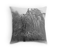 Weeping Willow In Winter Throw Pillow