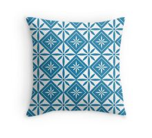 Blue 1950s Inspired Diamonds Throw Pillow