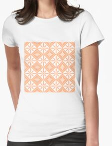 Peach 1950s Inspired Diamonds Womens Fitted T-Shirt