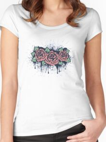 Grunge Roses with Splatters Women's Fitted Scoop T-Shirt