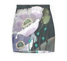 White Opium Poppies  Mini Skirt