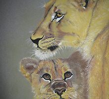 lioness with her cub by Cathacat