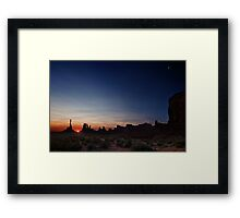 Moon watches sun rise at Totem Pole Framed Print