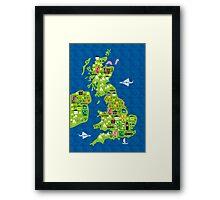 cartoon map of the UK Framed Print