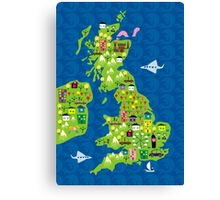 cartoon map of the UK Canvas Print