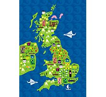 cartoon map of the UK Photographic Print