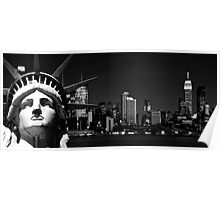 NYC Cityscape Skyline at Night over Hudson. New York City Poster
