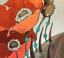 Red Opium Poppies by Kiri Moth