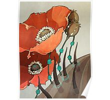 Red Opium Poppies Poster