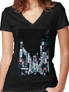 Kabukicho's Signs Women's Fitted V-Neck T-Shirt