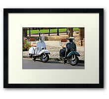 Black and White Vespa Scooters Framed Print