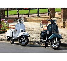 Black and White Vespa Scooters Photographic Print