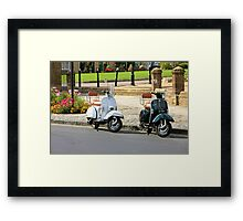 Black and White Scooters Framed Print
