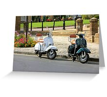 Black and White Scooters Greeting Card