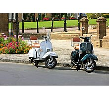 Black and White Scooters Photographic Print