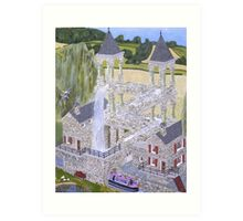 M.C. Escher's Mill landscaped and painted by Eric Kempson Art Print