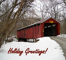 Charlton Covered Bridge-Happy Holidays by Debbie Meyers