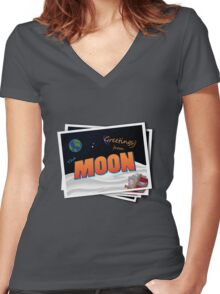 Greetings From The Moon Women's Fitted V-Neck T-Shirt