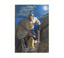 Spartan Warrior, One of the three hundred. (at Night) Art Print