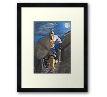 Spartan Warrior, One of the three hundred. (at Night) Framed Print