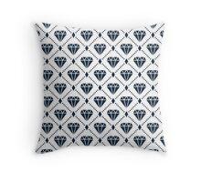 Navy Diamond Grid Pattern Throw Pillow