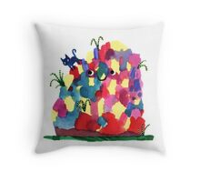 Happy Mound and Cat Throw Pillow