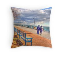 taking a walk on a cold ,windy and cloudy day Throw Pillow
