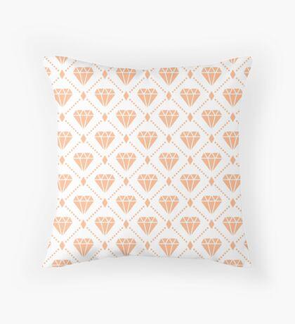 Peach Diamond Grid Pattern Throw Pillow