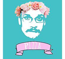 Hipster Pizza John - Blue Photographic Print