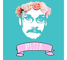 Hipster Pizza John - Blue Photographic Print