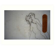 Left handed love affair on table. Art Print