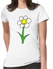 Happy smiling cartoon flower Womens Fitted T-Shirt