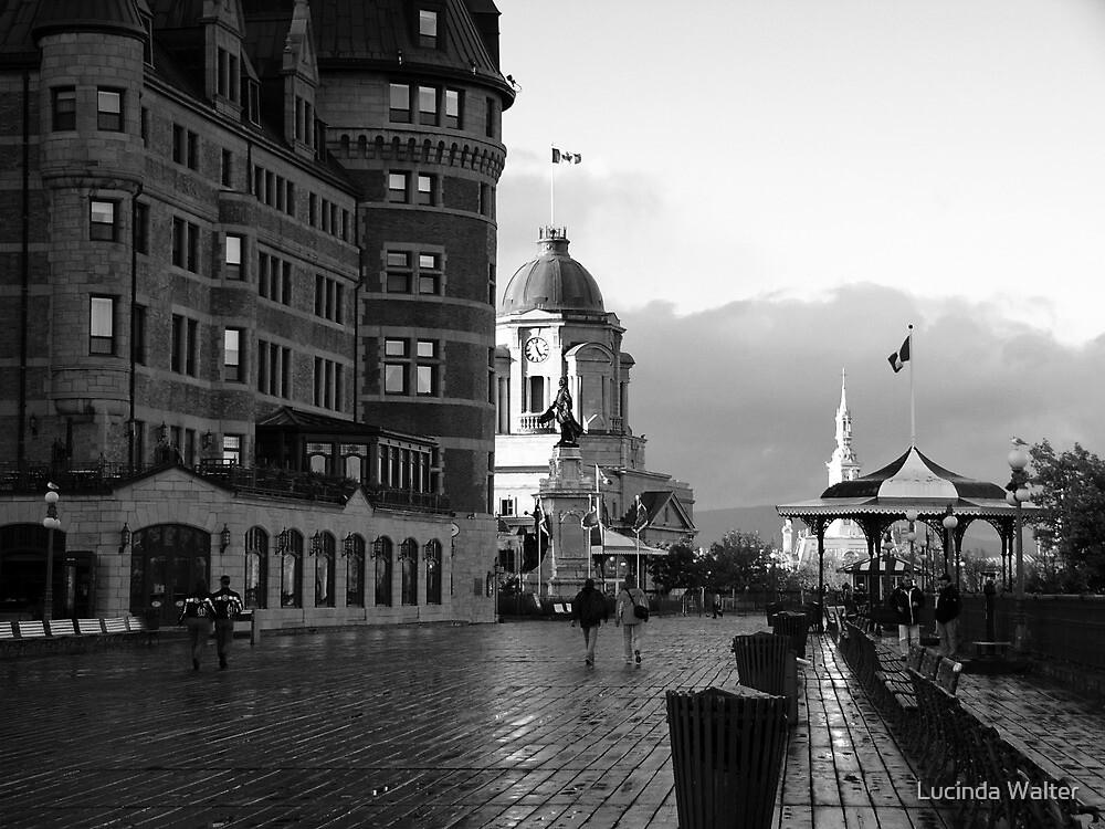 Boardwalk in Quebec ~ Black & White by Lucinda Walter