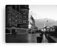 Boardwalk in Quebec ~ Black & White Canvas Print