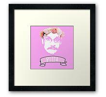 Hipster Pizza John - Pink Framed Print