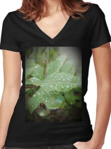 Diamond-y Water Droplets Women's Fitted V-Neck T-Shirt