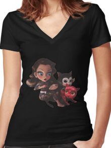 drawings for cats Women's Fitted V-Neck T-Shirt