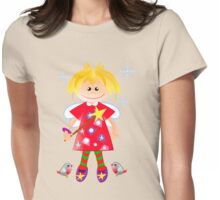 Cute angel with robins Womens Fitted T-Shirt
