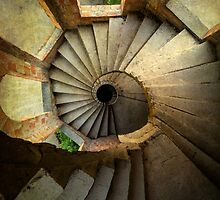 Spiral staircase in forgotten castle by JBlaminsky