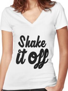 Shake it Off (bw) Women's Fitted V-Neck T-Shirt