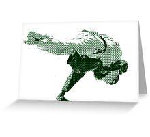 Judo Throw in Gi 2 Green Greeting Card