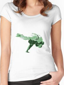 Judo Throw in Gi 2 Green Women's Fitted Scoop T-Shirt