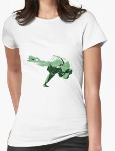 Judo Throw in Gi 2 Green Womens Fitted T-Shirt