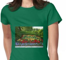 Colourful Flowerbed with Dahlias and Begonias Womens Fitted T-Shirt
