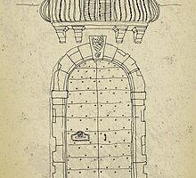 Italian vintage door with balcony by Vinchenko