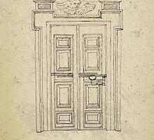 Italian old vintage door grapgics by Vinchenko